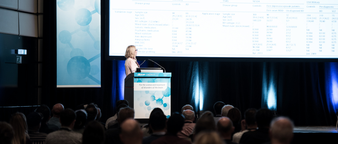 Woman presenting at the ECNP